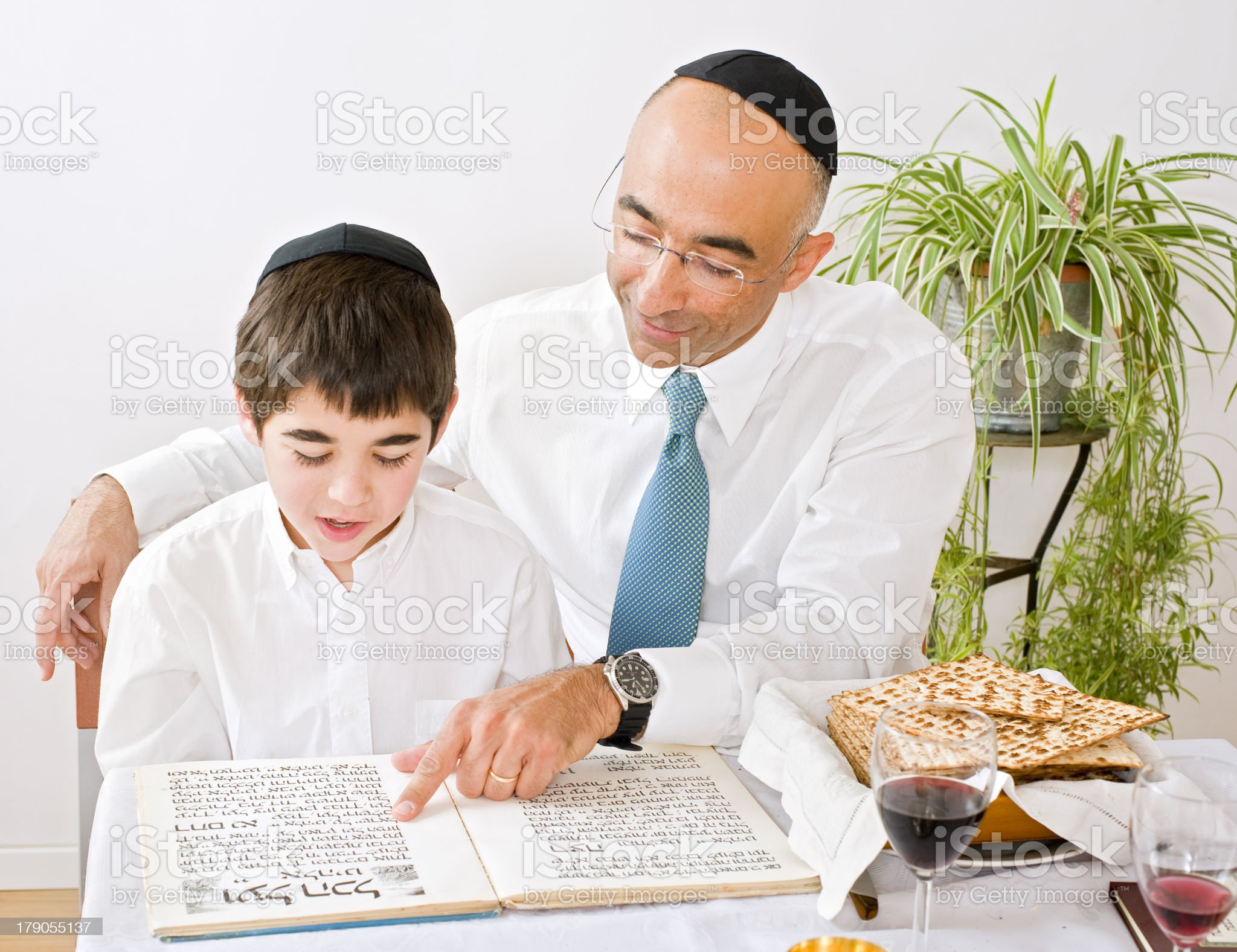 father and son celebrating passover royalty-free stock photo