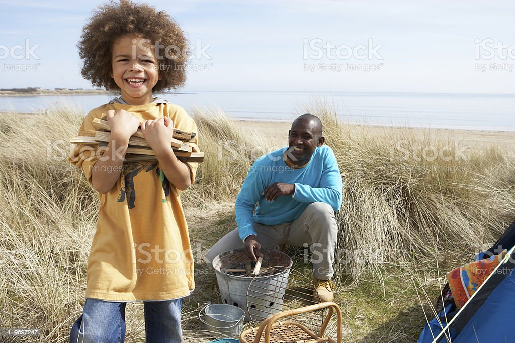 Father And Son Collecting Firewood On Camping Holiday royalty-free stock photo