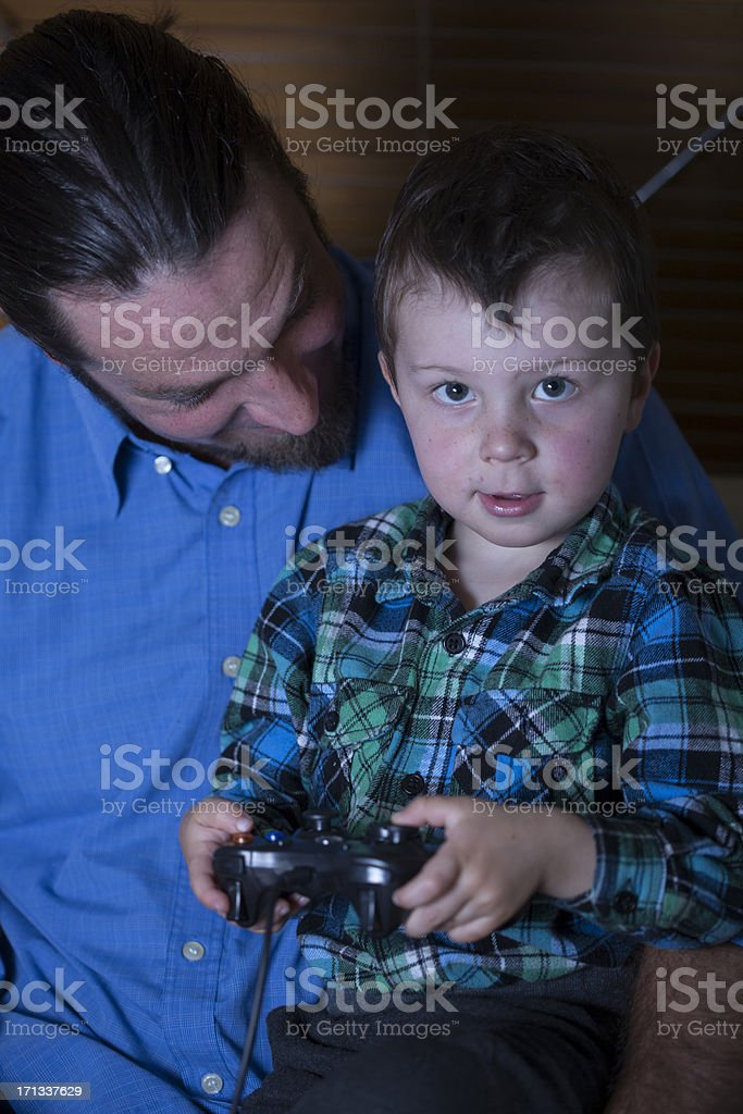 Father and Son Comupter Games royalty-free stock photo