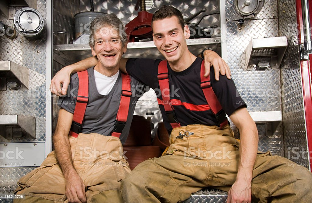 Father and Son Firefighter royalty-free stock photo