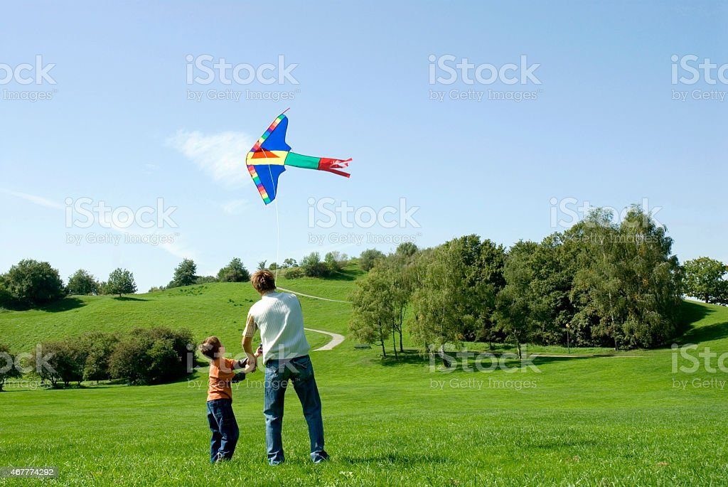 Father and son flying a kite, rear view stock photo