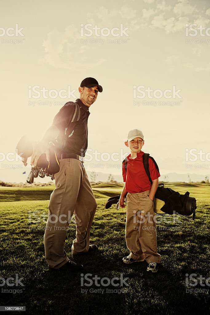 Father and Son Golf Pair royalty-free stock photo