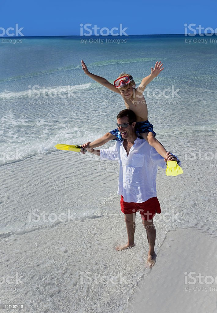 Father and Son Having Fun At the Beach royalty-free stock photo