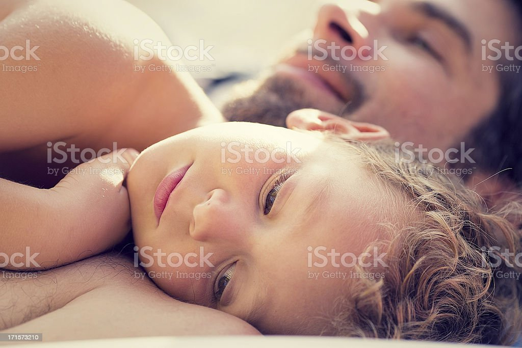 Father and son having fun stock photo