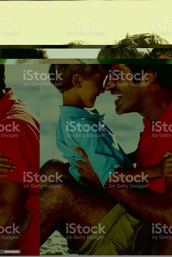 Father And Son Having Fun Together On Beach stock photo