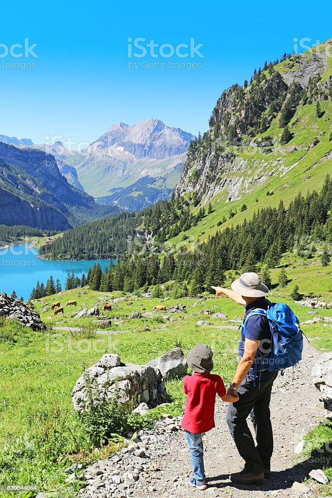 Father and Son Hiking in the Swiss Mountains stock photo