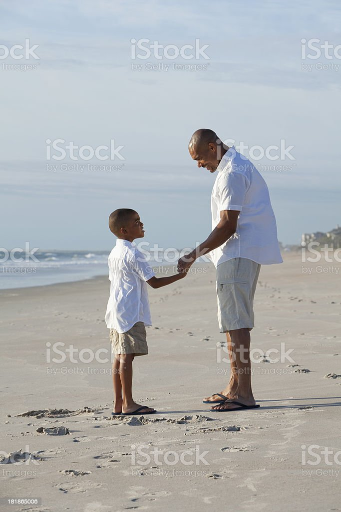 Father and son holding hands at the beach stock photo