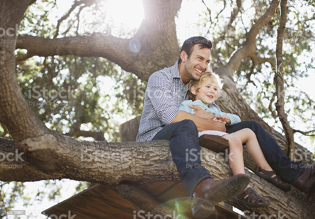 Father and son hugging in tree stock photo