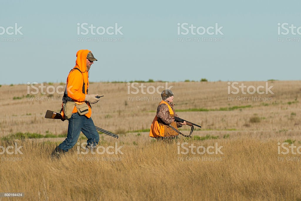 Father and Son Hunting stock photo