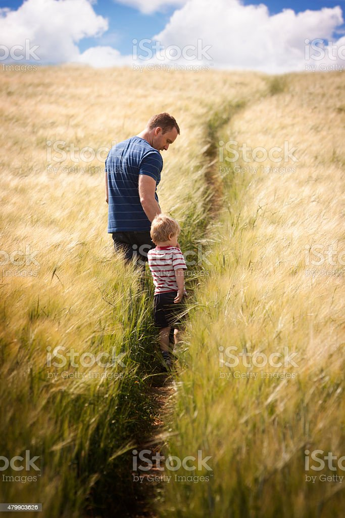 Father and Son in Field stock photo