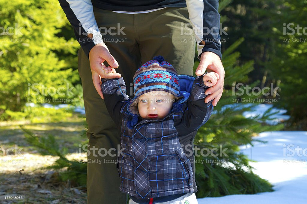 Father and Son in Forest royalty-free stock photo