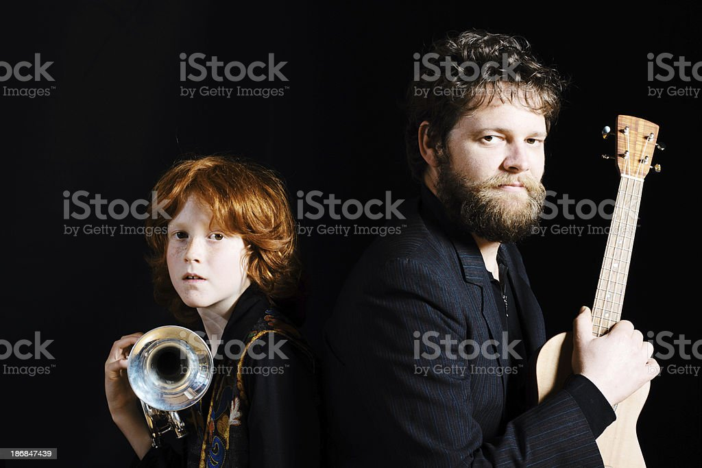 Father And Son Musicians royalty-free stock photo