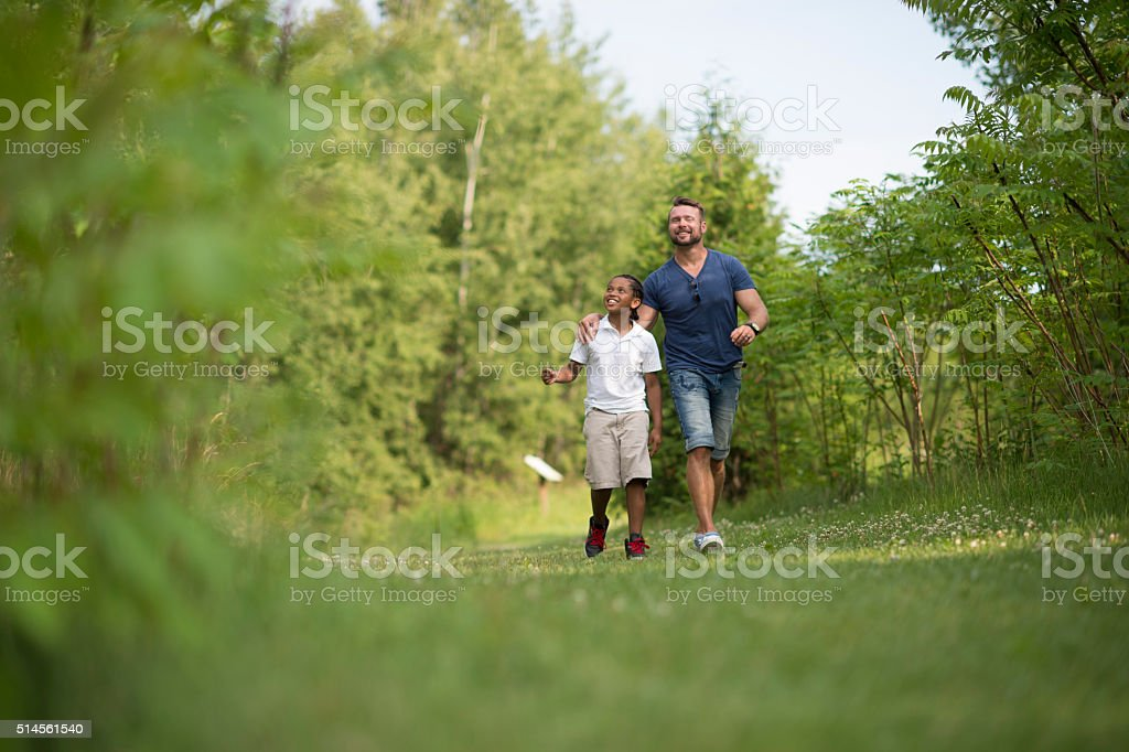 Father and Son on a Walk stock photo