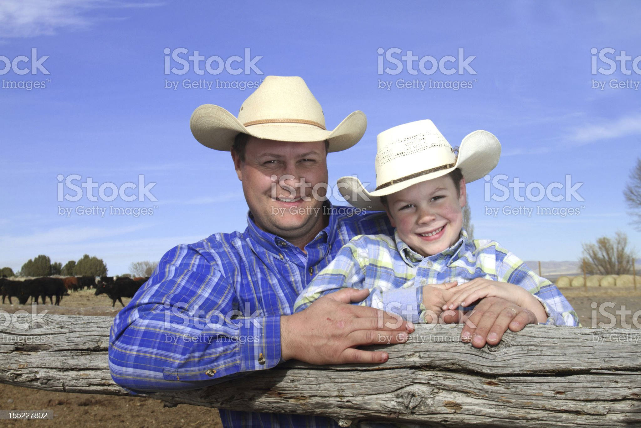 Father and Son on their Ranch royalty-free stock photo