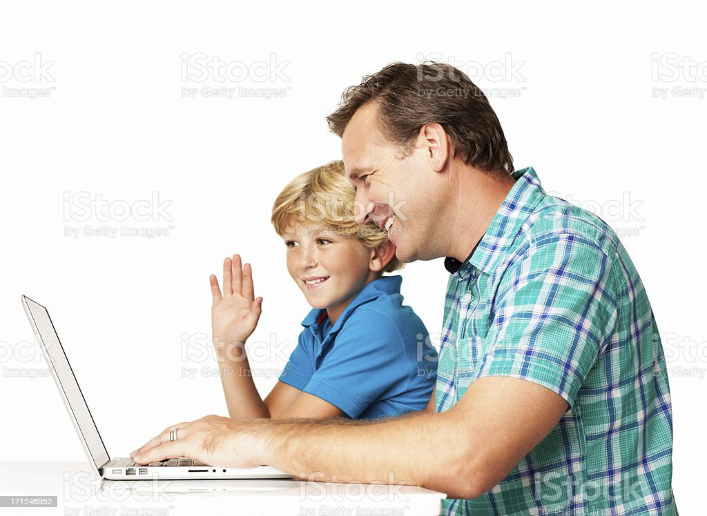 Father And Son On Video Conference - Isolated royalty-free stock photo