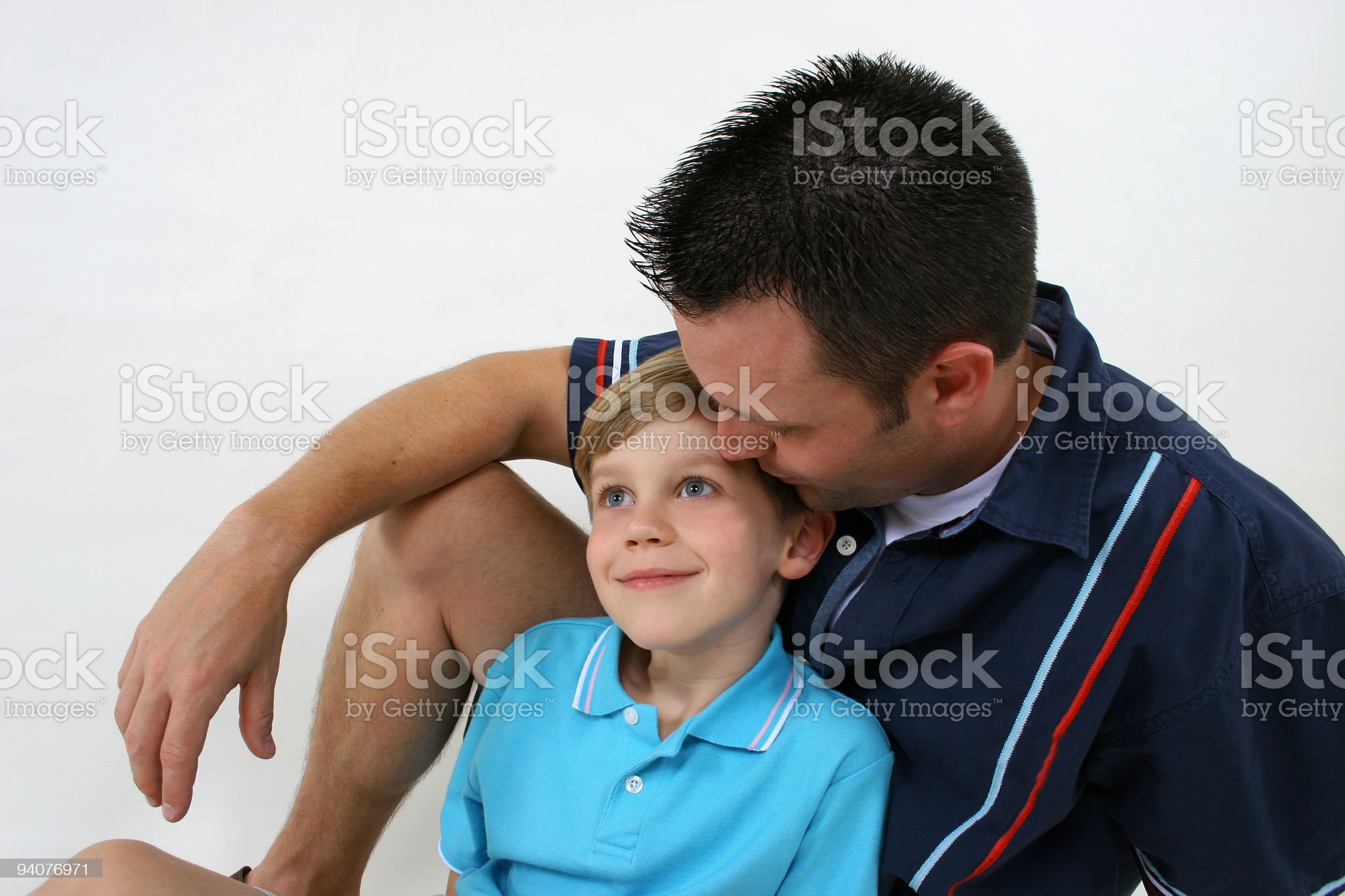 Father and son on white background royalty-free stock photo