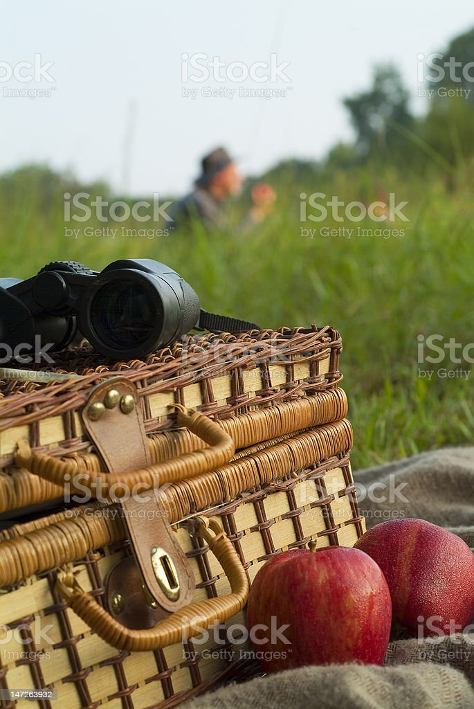 Father and son picnic royalty-free stock photo