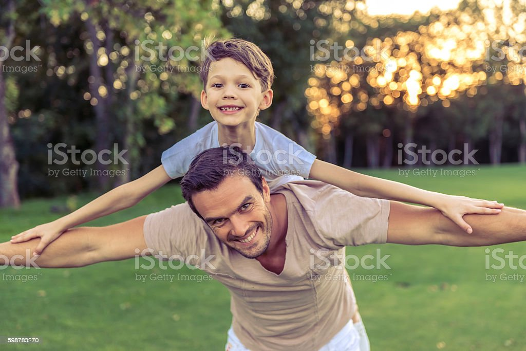 Father and son stock photo