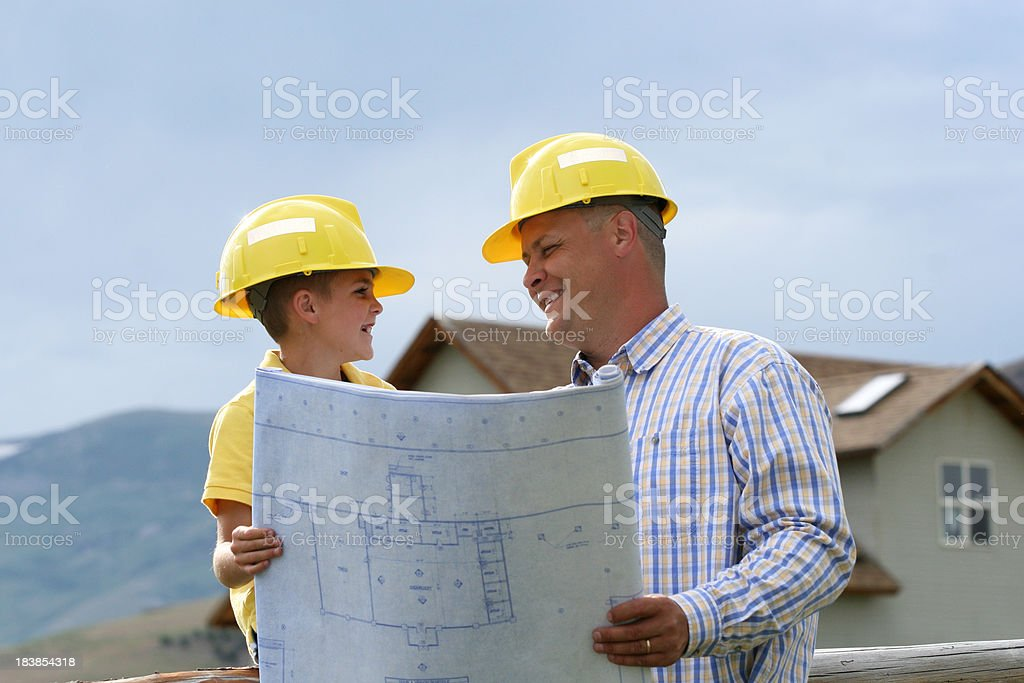 Father and Son Planning royalty-free stock photo