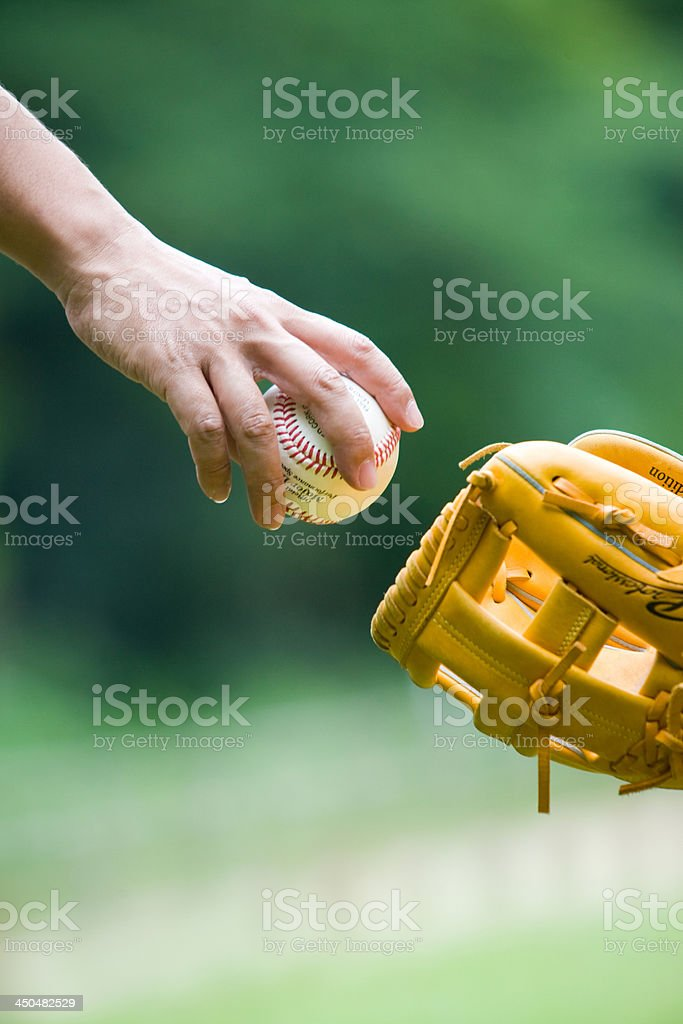 Father and Son Play Catch royalty-free stock photo