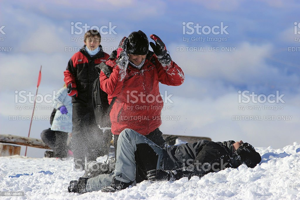 Father and son playing with snow at Andes mountains 1 royalty-free stock photo