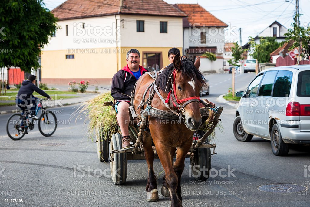 Father and son riding horse and cart in Rasnov, Romania stock photo