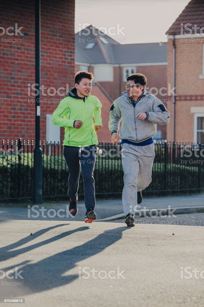 Father and Son Run stock photo