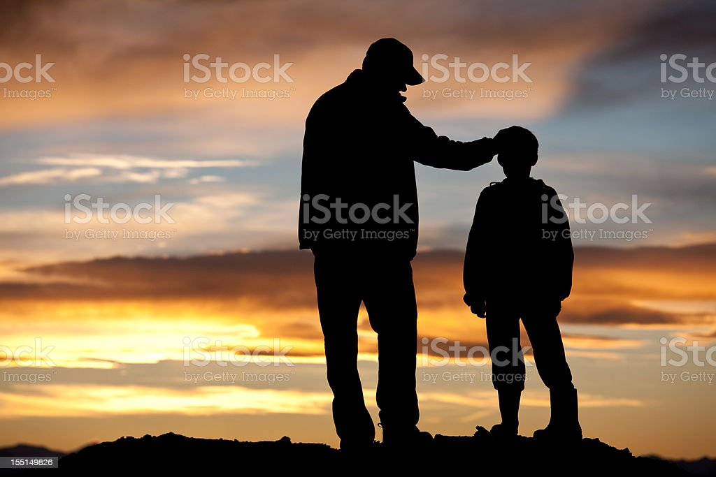 Father and Son Silhouette stock photo