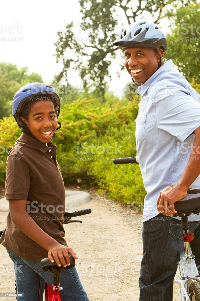 Father and son spending time together. stock photo
