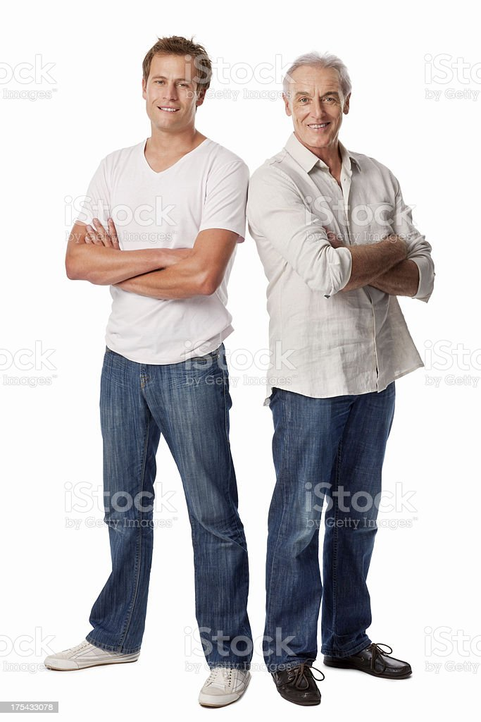 Father And Son Standing With Arms Crossed - Isolated royalty-free stock photo