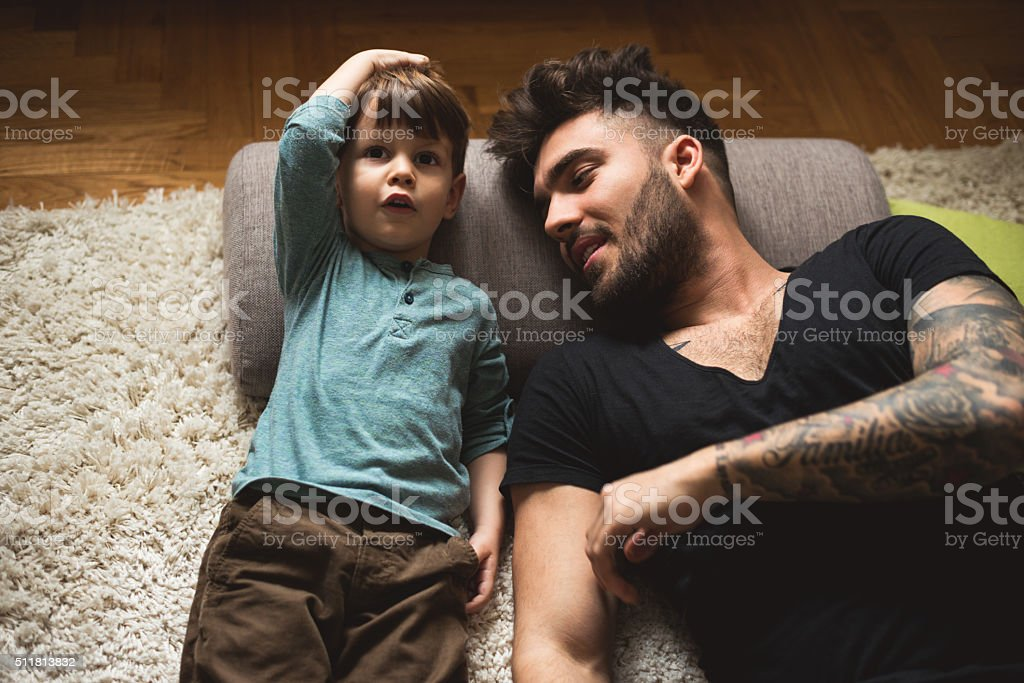 Father and son time stock photo