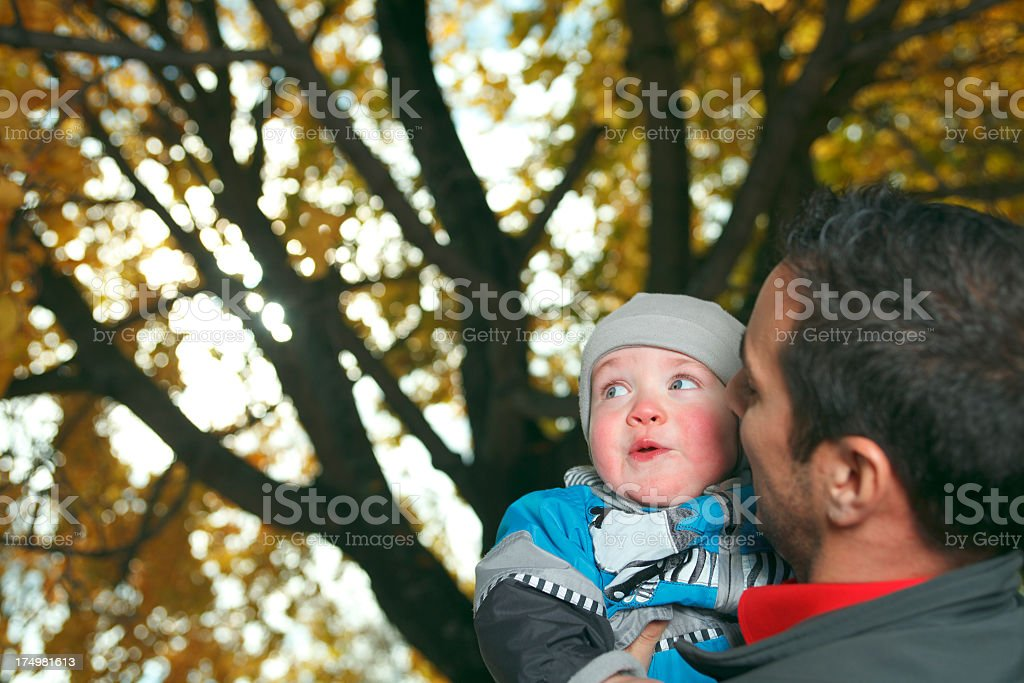 Father and Son - Tree on Back royalty-free stock photo