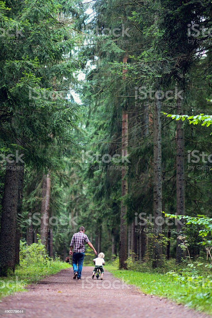 Father and son walking in the forest stock photo