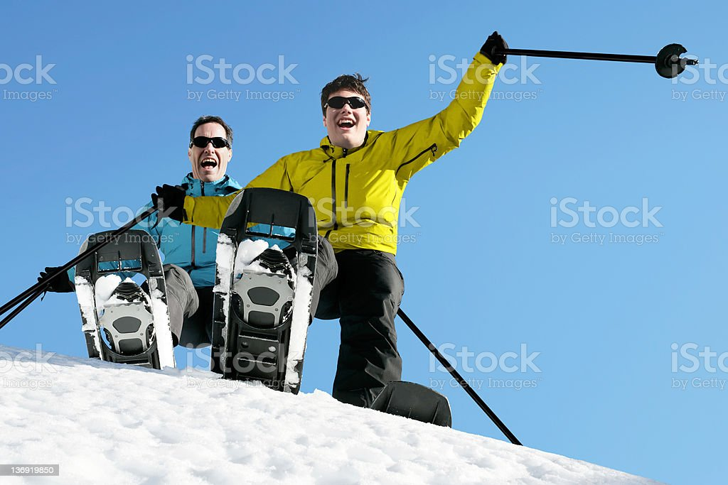 XL father and son winter hiking royalty-free stock photo