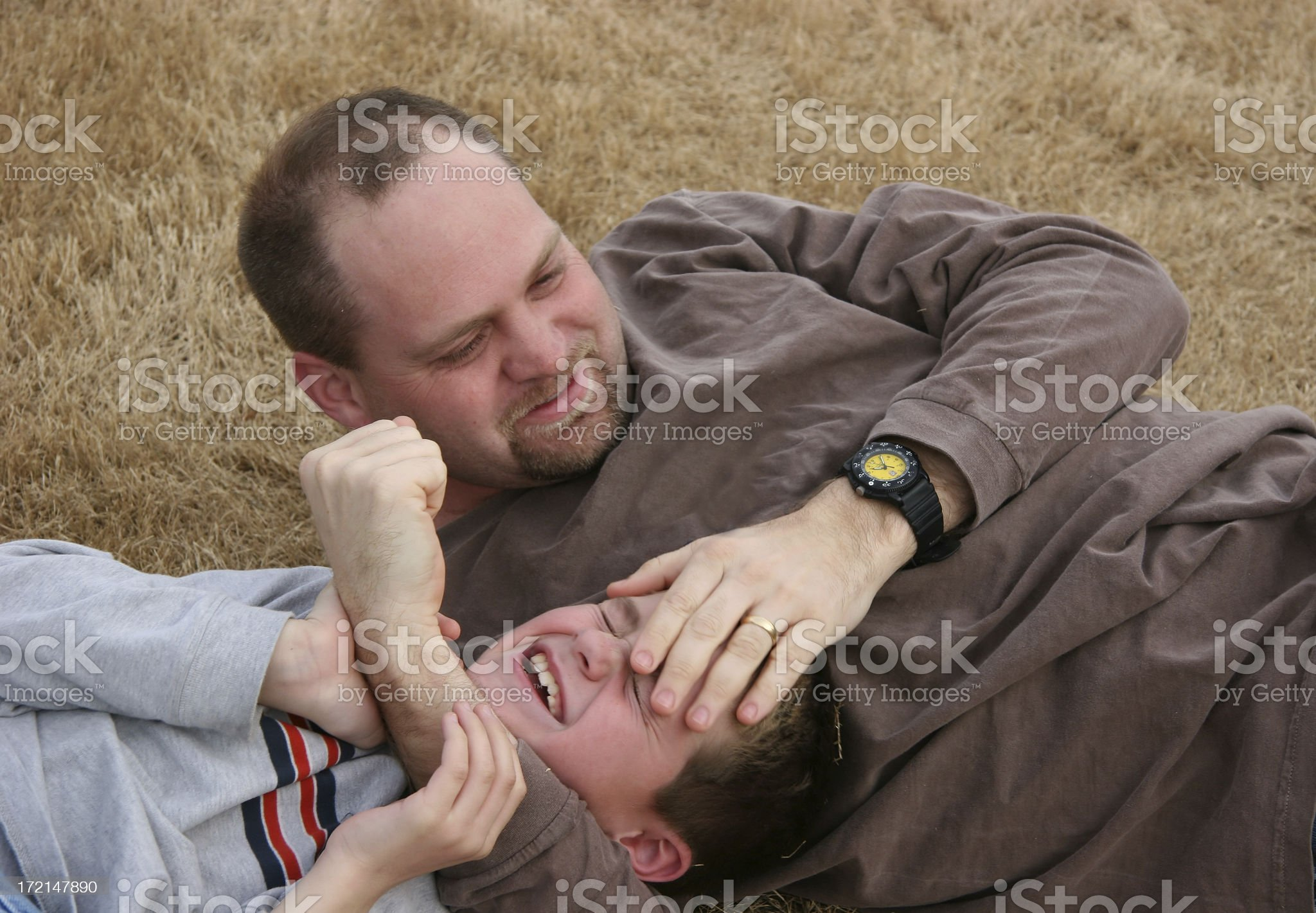 Father and Son Wrestling royalty-free stock photo