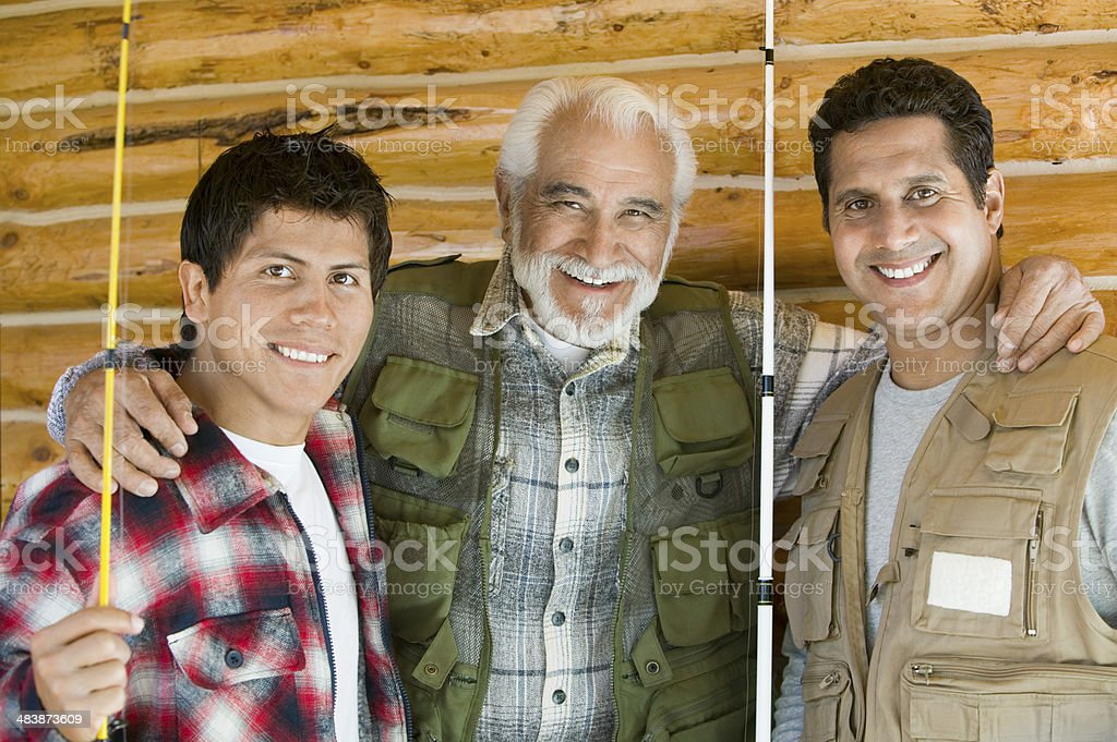 Father and Sons Bonding on Fishing Trip stock photo