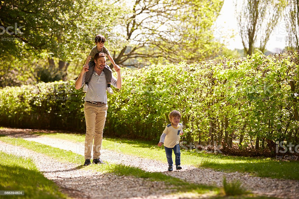 Father And Sons Going For Walk In Summer Countryside stock photo