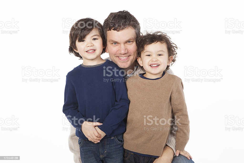 Father and Sons on White Background. royalty-free stock photo