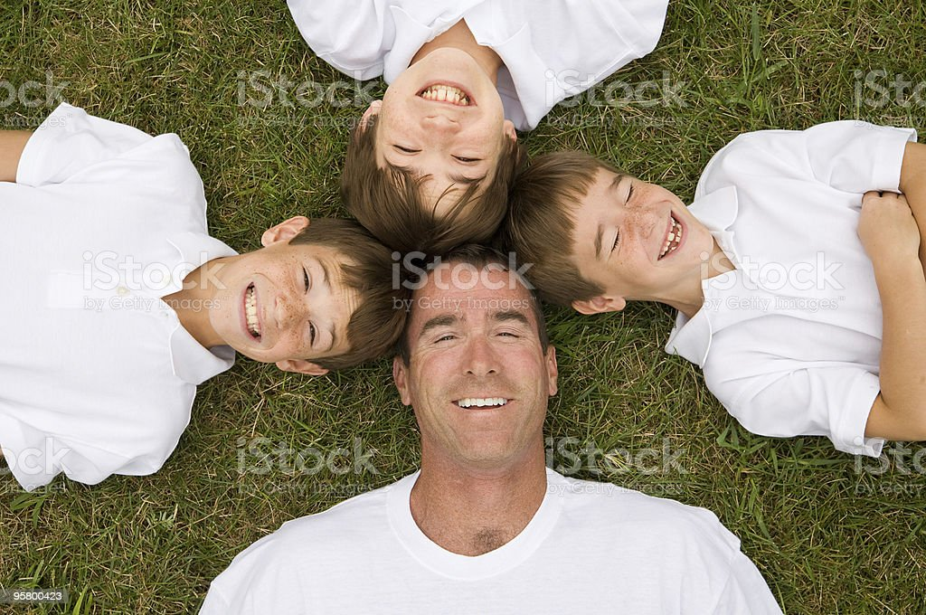 Father and Three Sons stock photo