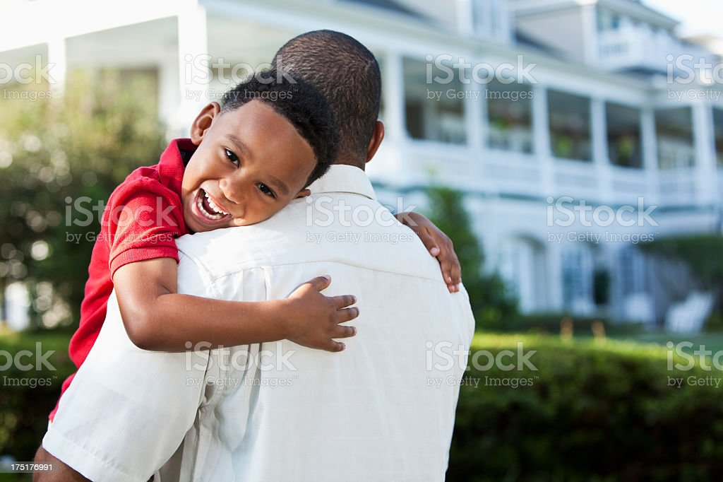 Father and young son stock photo