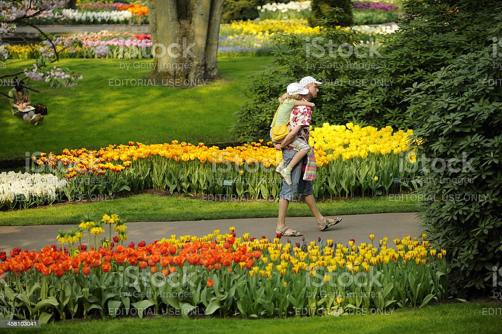 Father carrying his daughter in flower park Keukenhof the Netherlands royalty-free stock photo
