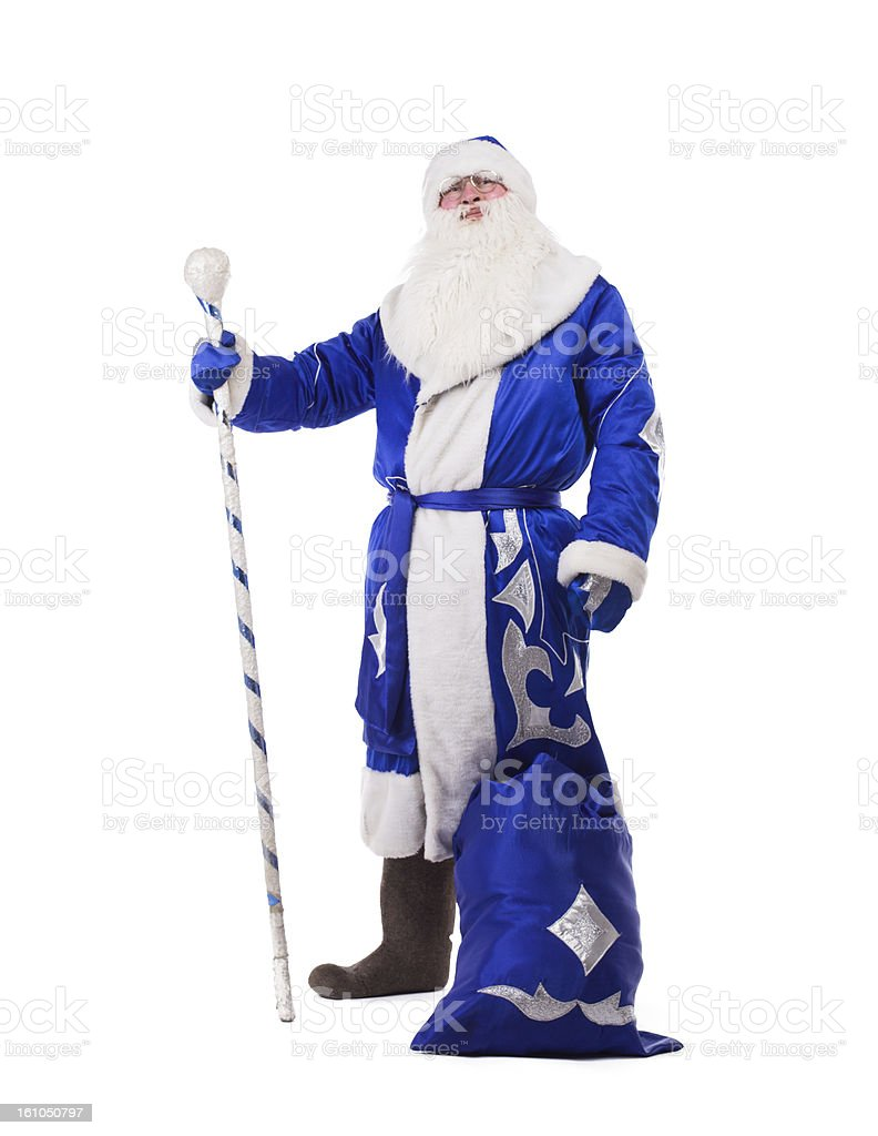 Father Christmas in blue costume isolated royalty-free stock photo