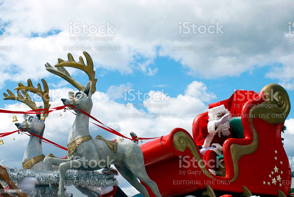Father Christmas in his Sleigh at the Richmond Santa Parade stock photo