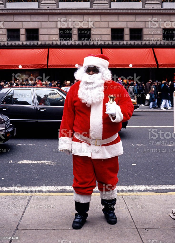 Father Christmas on 5th Avenue, New York. stock photo