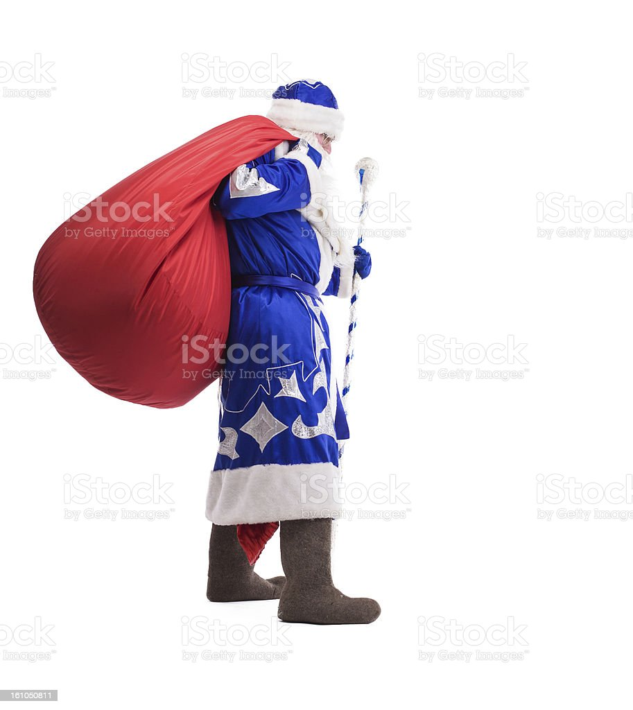 Father Christmas with red big bag royalty-free stock photo