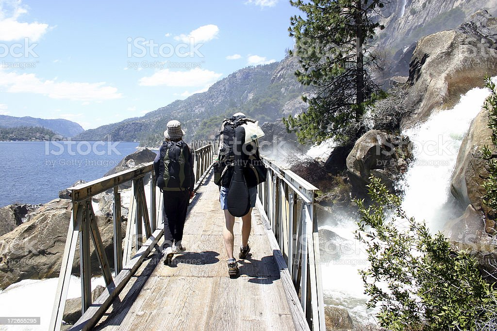Father Daughter Backpackers stock photo