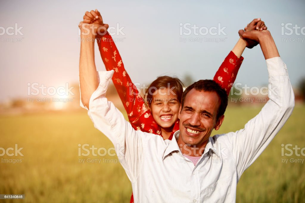 Father & Daughter Playful outdoor in the nature stock photo