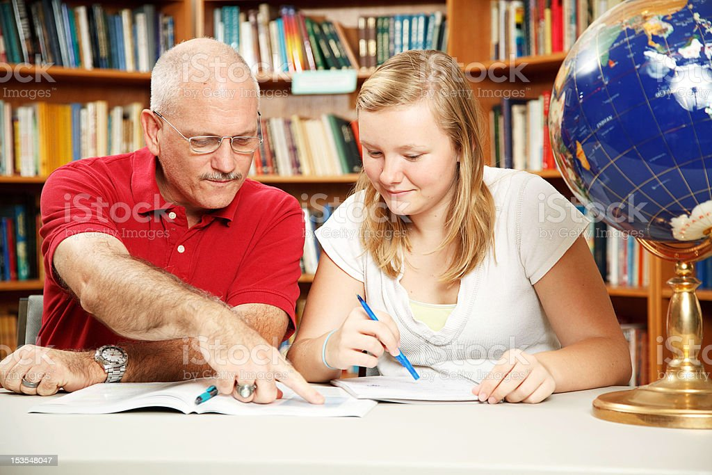 Father Daughter Study Time royalty-free stock photo
