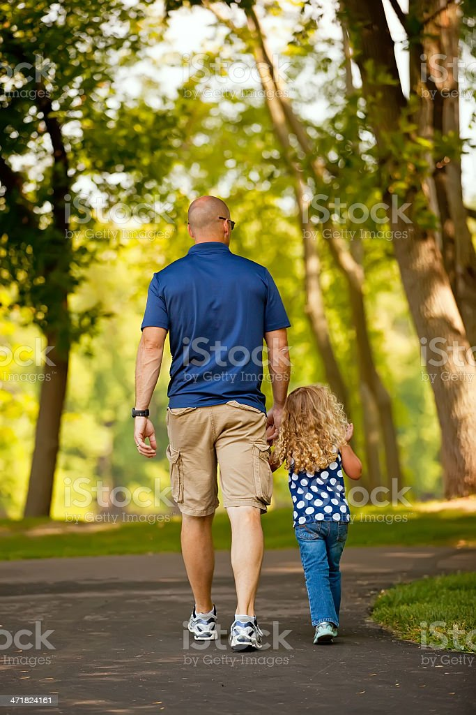 Father & Daughter Walking at Park royalty-free stock photo