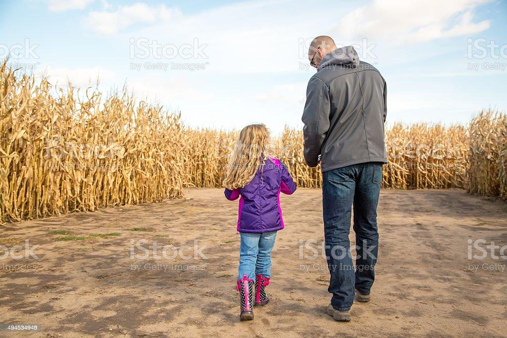 Father & Daughter Walking Through Autumn Corn Maze stock photo